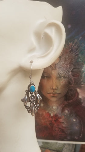 Vintage Sterling Silver Turquoise Hook Earrings Floral Flower Ornate Art deco