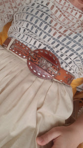 Tooled leather vintage belt size 26 XS/S