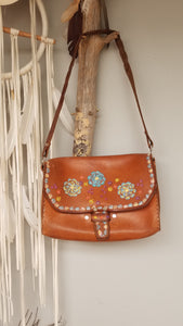 Hand painted tooled leather bag 70s