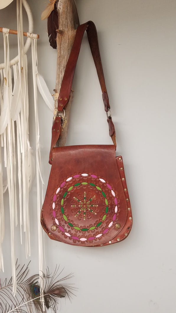 Vintage tooled Mandala bag 70s