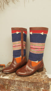 Handmade Moroccan kilim leather boots size 39