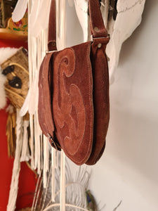 Brown suede leather bag
