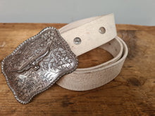 RM Williams Loghorn buckle white belt