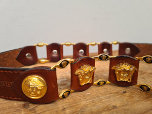 Vintage brown & Gold Medusa Design Italian leather belt