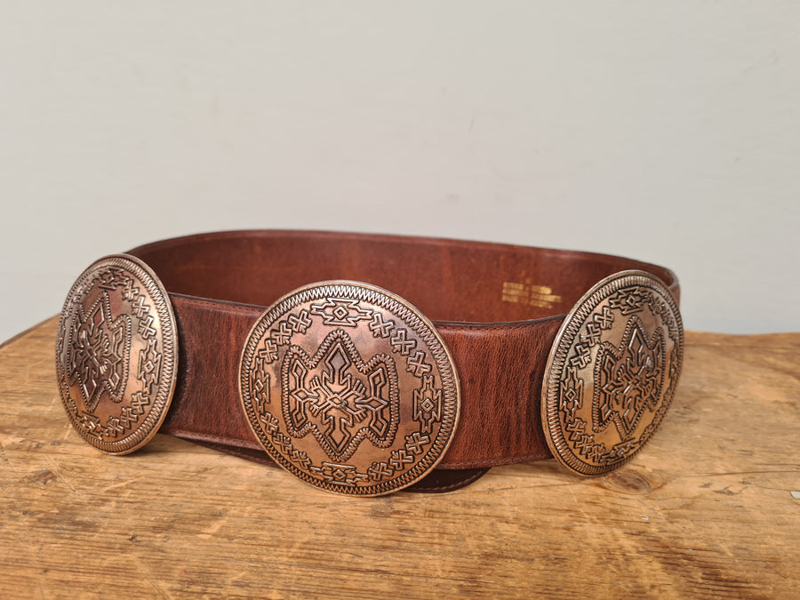 Wide vintage concho leather belt size M