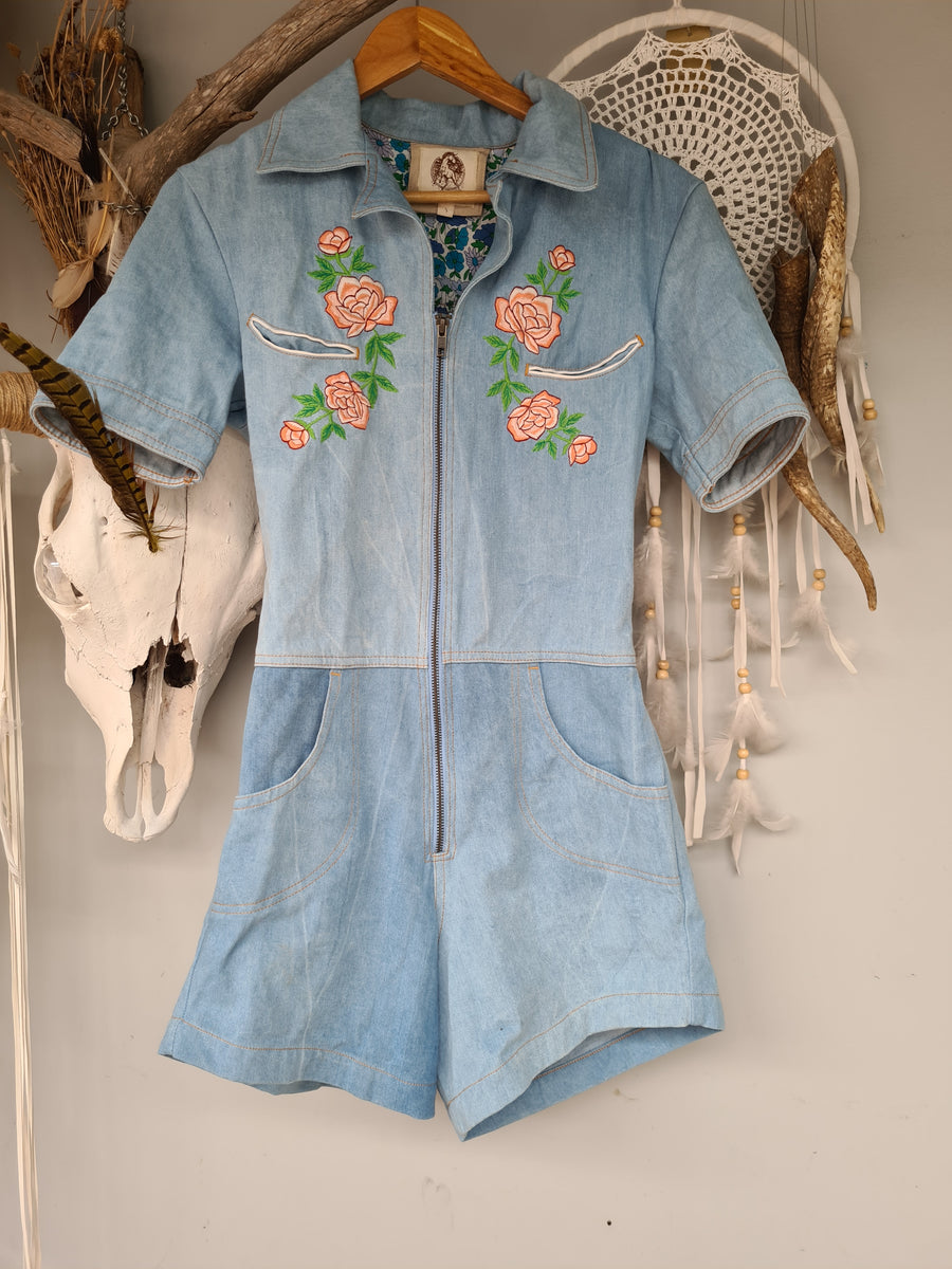 Chasing unicorns Chambray Denim zip up shorts jumpsuit size S