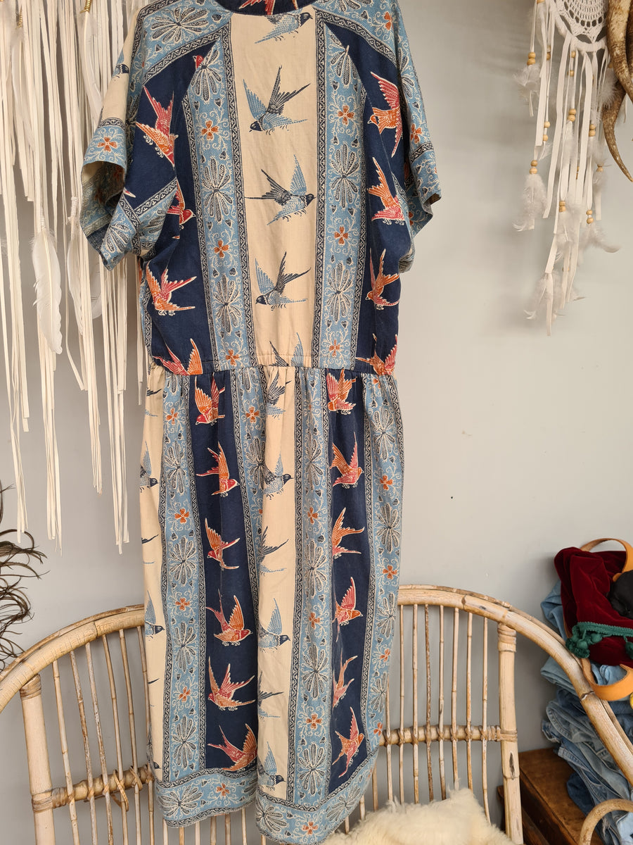 Vintage Cotton Dress Blue Red Bird Batik Print 12 14