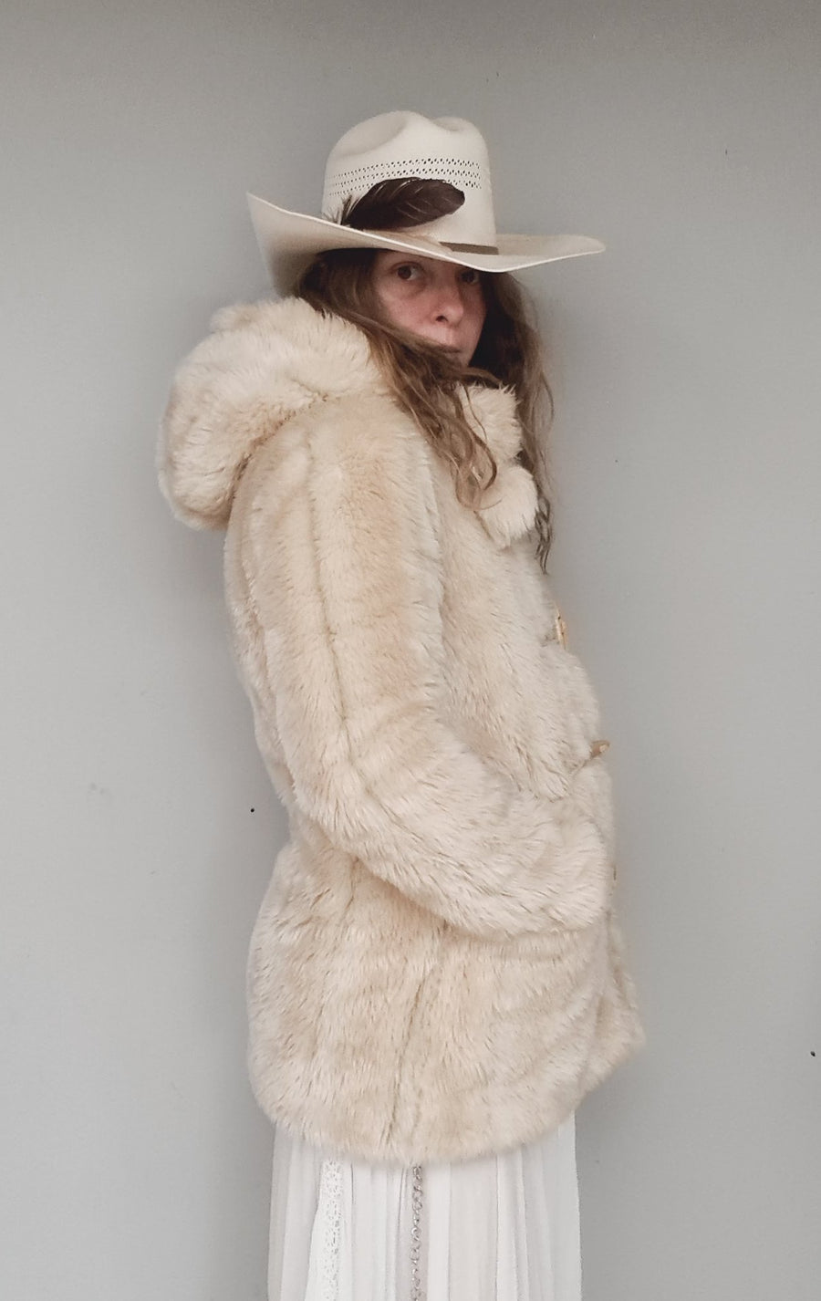 Vintage teddy bear coat with hood S/M