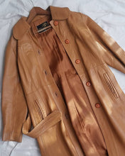 70s tan leather trench coat