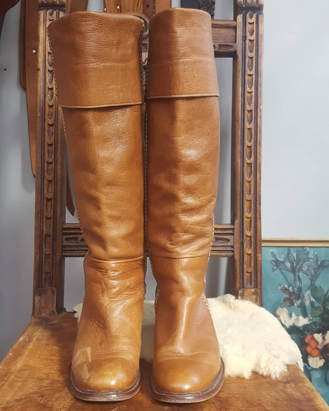 Tall Tan Leather boots size 36
