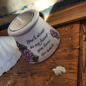 Friends ceramic tea candle holder