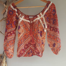 Arnhem Anjuli Autumn sky crop blouse S