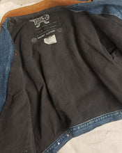 Denim biker jacket size L MENS OR WOMANS
