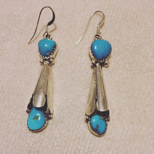 Sterling Silver Natural Turquoise Earrings Long Hooks