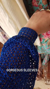 CU Vintage Blue Sparkly Crochet Top Jumper / Size 8