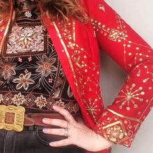 Red Gold embelished Cropped Jacket - size 8-10
