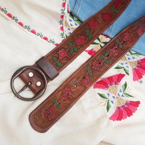 Hand painted tulips belt XS