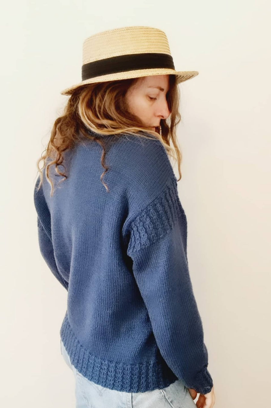 Deep Ocean blue wool knit jumper