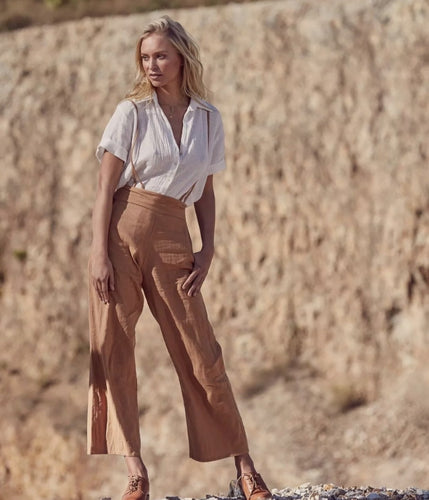 tigani lux linen high waisted pants size small