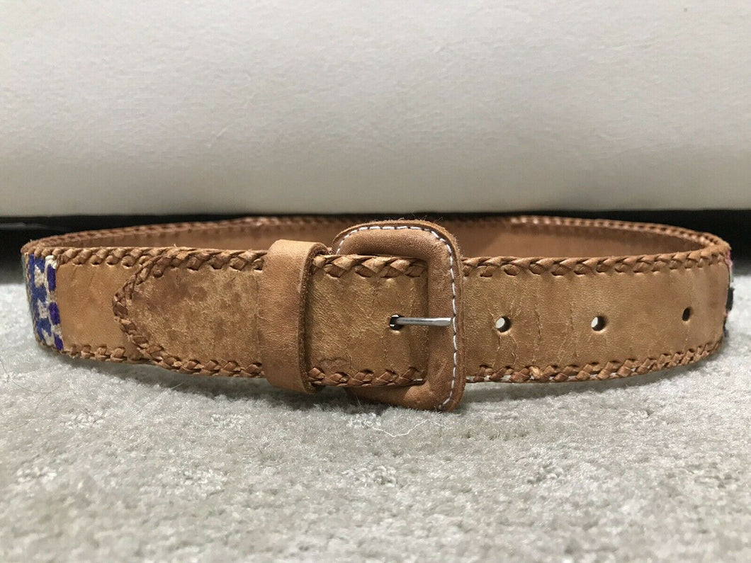 Vintage Tan/Brown Leather Mexican Embroidered Belt XS.