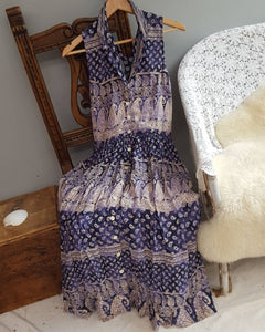 Indian block print dress vintage size 8