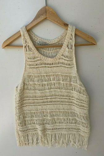 Crochet stretch beige boho fringe top size S