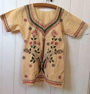 Embroidered Tunic Kaftan Top Cotton Indian Vintage Boho XS