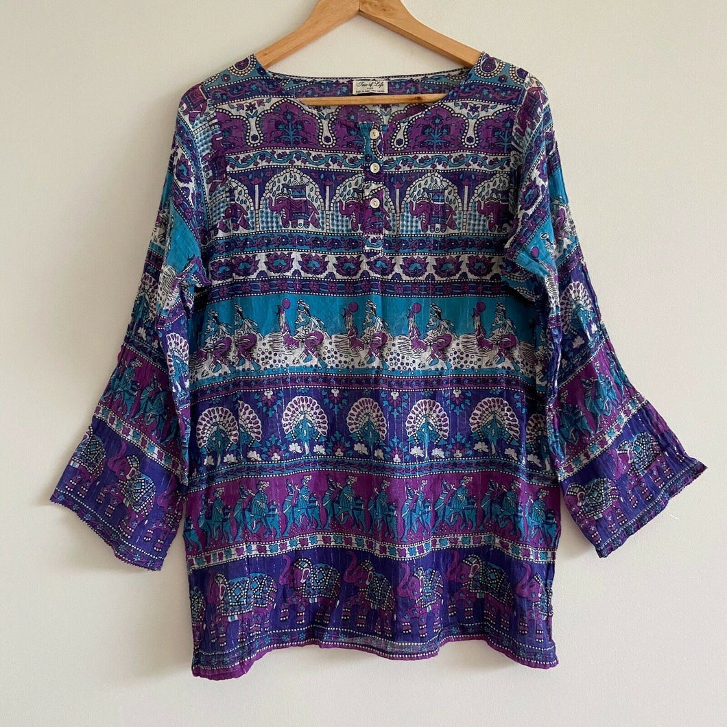 vintage tree of life purple blue elephant print blouse shirt kaftan metallic cotton