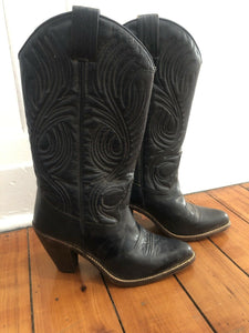 Gorgeous Vintage Dark Green Leather Cowboy Boots Womens Size 5 1/2