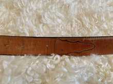TONY LAMA tan brown leather vintage Belt with Buffalo Buckle size 40 Made in US