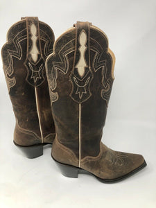 "J B DILLON Boots Bison GOAT Leather Snip Toe 13"" Cowboy Women's USA SIZE 8B"