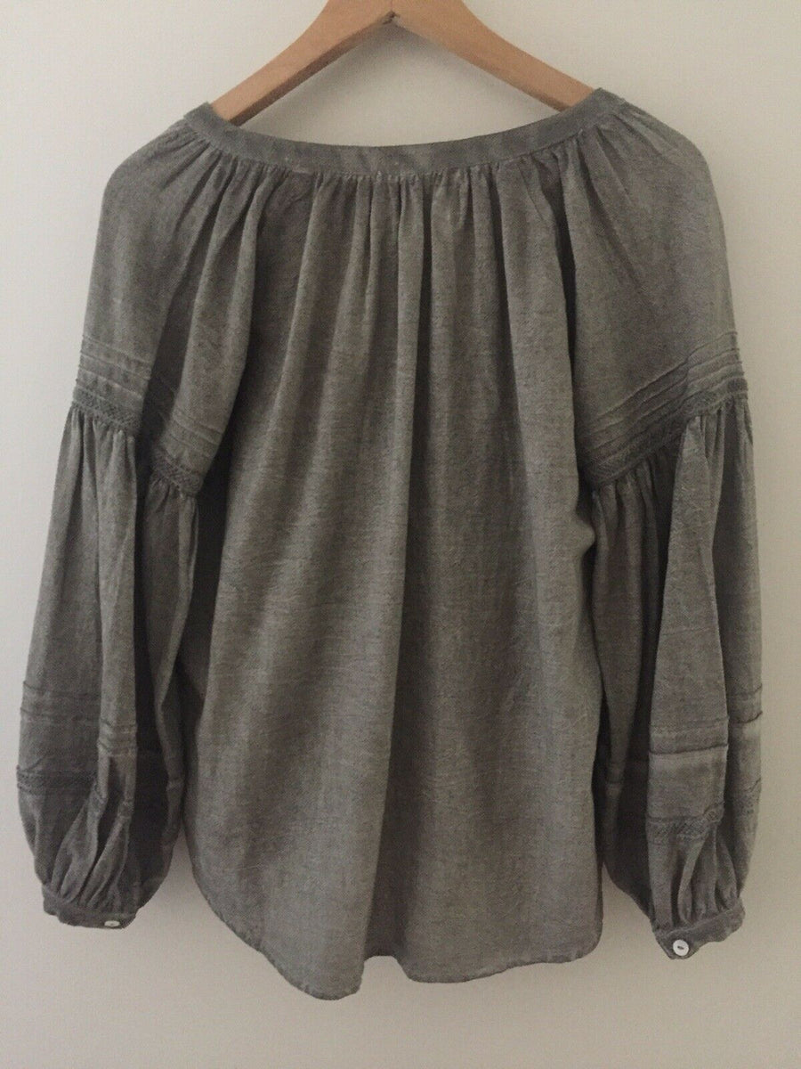Bird & Kite Winterwood Peasant Blouse - Washed Silver XS