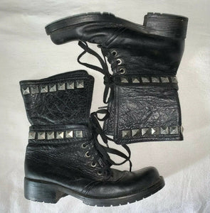 GENUINE THICK LEATHER STUD DETAIL HIGH ANKLE LACE UP BOOTS 7.5