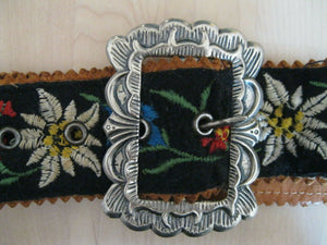 RETRO LEATHER BLACK EMBROIDERED FABRIC FLORAL WAIST BELT small/M