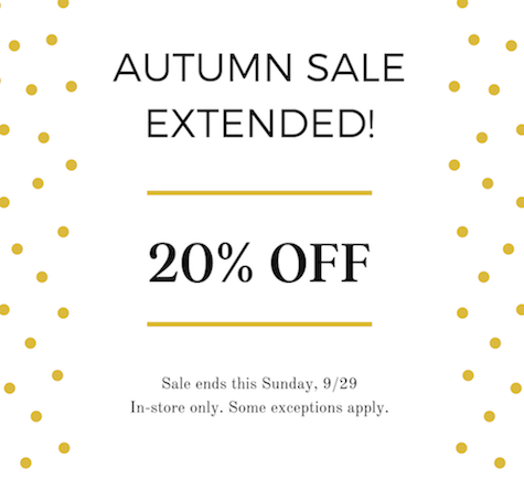 Autumn Sale Extended!