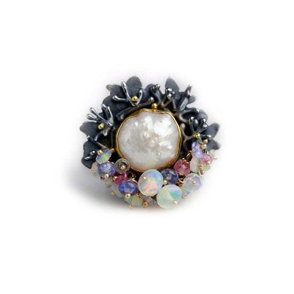 - gallery of jewels - wendy stauffer jewelry collection - Floral Framed Rosebud Pearl & Opal Fringe Ring