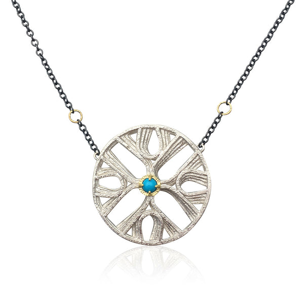 September Sale - 20% off sale - Jenny Windler - Quattro Sym Necklace w/ Sleeping Beauty Turquoise Gem - gallery of jewels