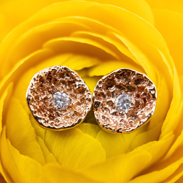 14k Rose Gold & Diamond Stud Earrings. By: Branch BRNH6002 - gallery of jewels - mothers day gifts - mothers day jewelry