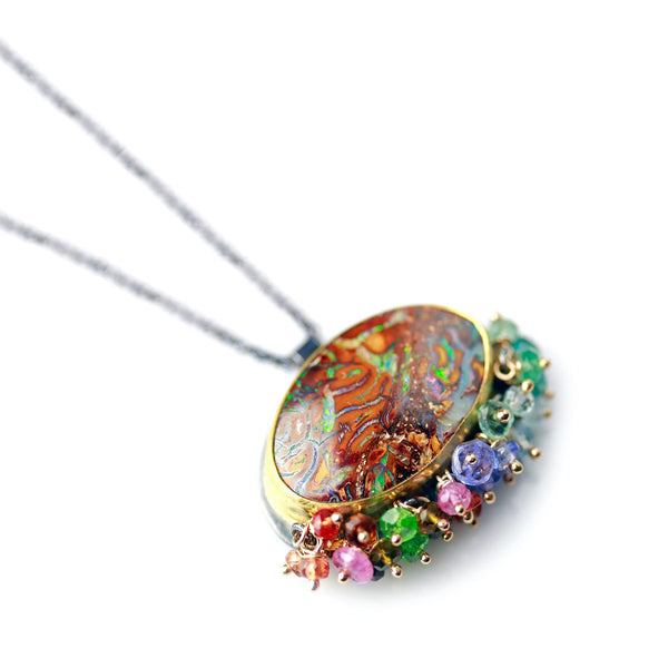 - gallery of jewels - wendy stauffer jewelry collection - Boulder Opal Gemstone Pendant w/ Mixed Gemstone Fringe
