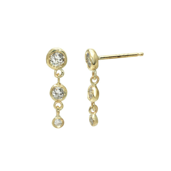 - gallery of jewels - Jaine K signature collection - Triple Diamond Drop Earrings