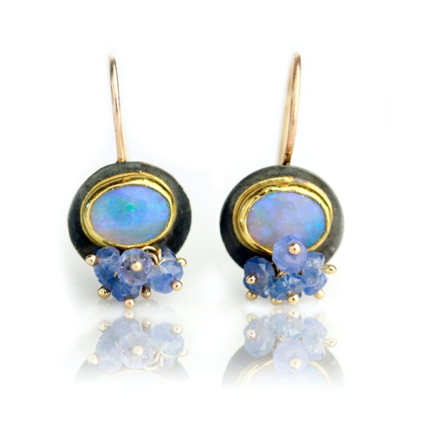 - gallery of jewels - wendy stauffer jewelry collection - Australian Opal Earrings w/ Tanzanite