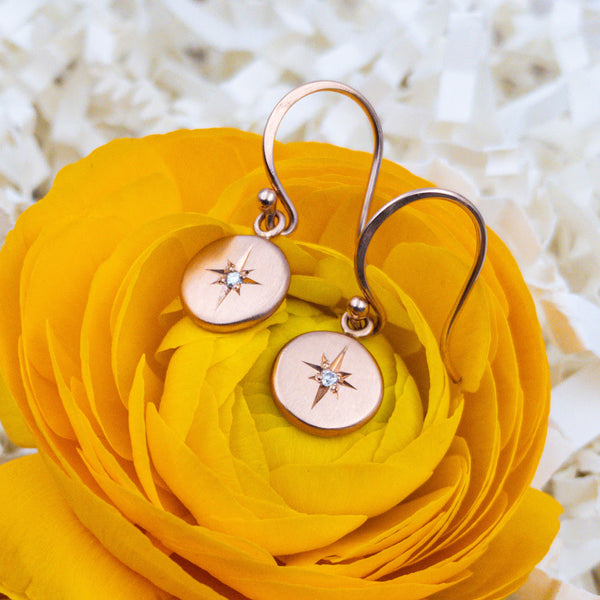 14k Rose Gold and Diamond Earrings. By: Jen Leddy JNLD1353 - gallery of jewels - mothers day gifts - mothers day jewelry