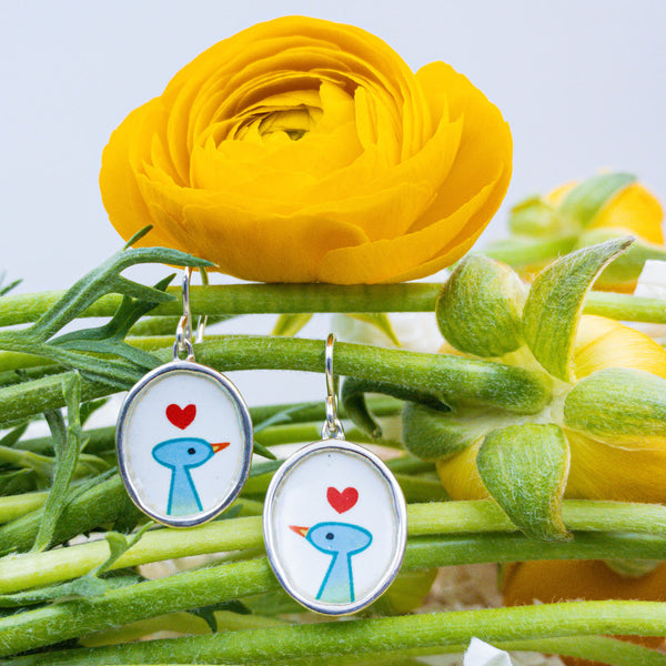 Sterling Silver & Enamel Earrings. By: Mark Poulin MRKP1440 - gallery of jewels - mothers day gifts - mothers day jewelry