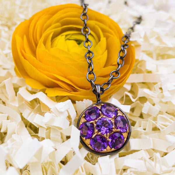 Sterling Silver, 14k Rose Gold, & Amethyst Necklace. By: Alberian & Aulde ABAL1609 - gallery of jewels - mothers day gifts - mothers day jewelry