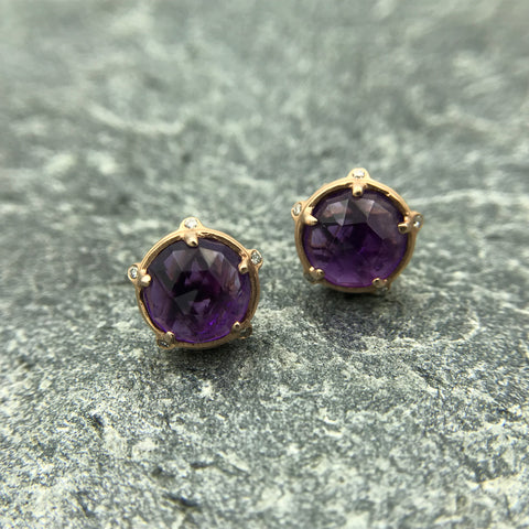 14k Rose Gold Stud Earrings with Amethyst & Diamonds - GALLERY OF JEWELS