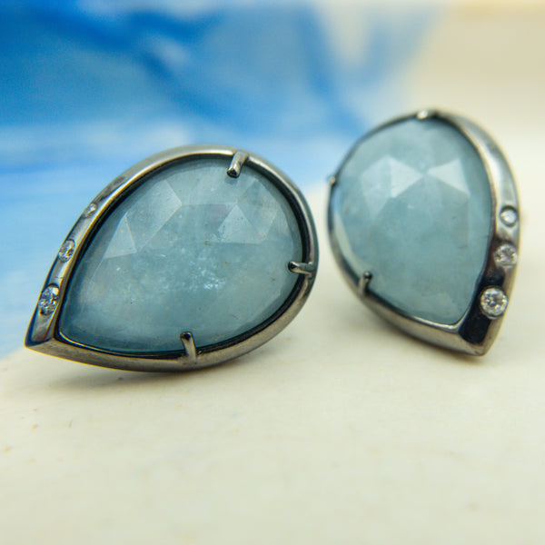 Black Rhodium Plated Sterling Silver, Aquamarine, & Diamond Stud Earrings. Alberian & Aulde - Alberian & Aulde earrings - Alberian & Aulde jewelry - gallery of jewels Alberian and Aulde jewelry collection