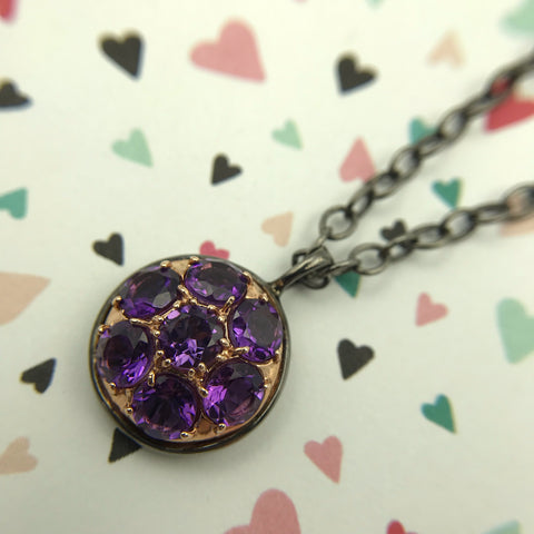 Alberian & Aulde - Black Rhodium - Plated Sterling Silver - 14K Rose Gold - Amethyst Necklace
