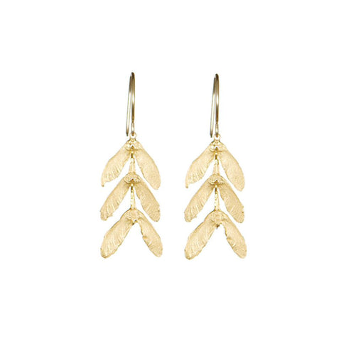 3 Maple Seed Earrings - Catherine Weitzman - gallery of jewels - gold earrings - san francisco