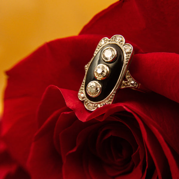 Dimitria Koumarnetos jewelry - Dimitria Koumarnetos Gold Onyx Diamond Ring - Gallery of Jewels - Black Diamond Ring - Valentines Day Ring - Gallery of Jewels - Best jewelry shop in San Francisco Bay Area