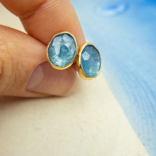 Sterling Silver, 14k Yellow Gold, & Aquamarine Stud Earrings - Jen Leddy - Jen Leddy jewelry - gallery of jewels Jen Leddy - Jen Leddy studios - gallery of jewels earrings - san francisco fine jewelry shop